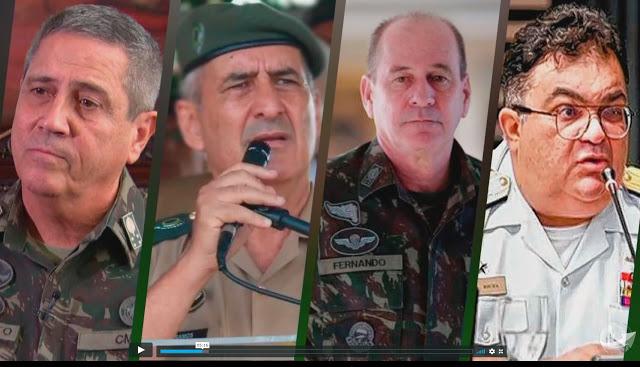 Generais Braga Neto, Ramos, Luiz Fernando e Almirante Viana