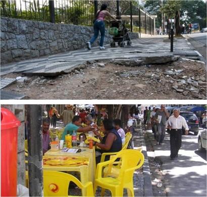 Falta fiscalização para o uso indevido e a falta de manutenção das calçadas.