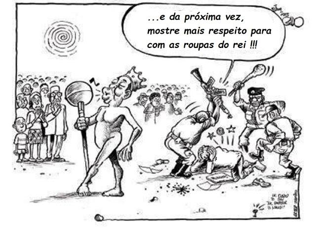 O Rei está Nú... mas dizer isso a ele é crime (charge de Boniface Mwangi)