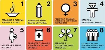 Mosaico dos oito Objetivos do Milênio da ONU. (Imagem: Reprodução)