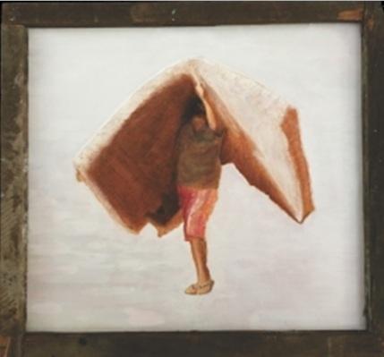 Primeiro quadro foi produzido com os materiais garimpados dos escombros do edifício: o titulo da obra é 'Menino carregando a própria casa'