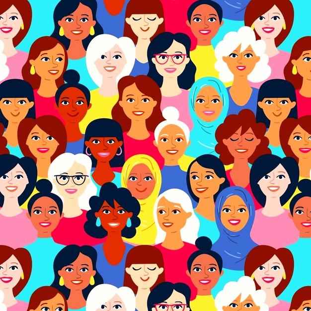 padrao-de-dia-das-mulheres-com-rostos-de-mulheres-diversas_23-2148413612