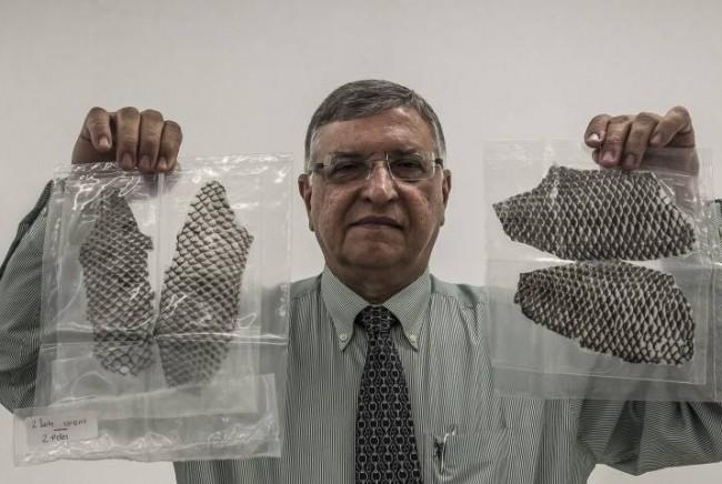 O professor Odorico Moraes segura duas embalagens com peles de tilápia prontas para o uso. (Jarbas Oliveira)