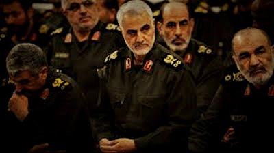 Qasem Soleimani e comandantes da Guarda Revolucionária - forças especiais iranianas classificadas como terroristas pelos EUA