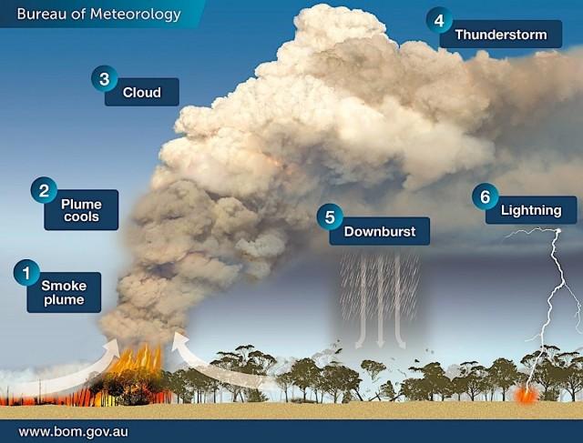 Os incêndios na Austrália estão criando seu próprio microclima, o que gera mais queimadas. Na imagem acima é possível ver o ciclo de formação de nuvens. (1) Nuvens de vapor; (2) Vapor esfria; (3) Nuvem; (4) Tempestade; (5) Explosões; (6) Raios (Foto: Escritório de Meteorologia de Victoria.)