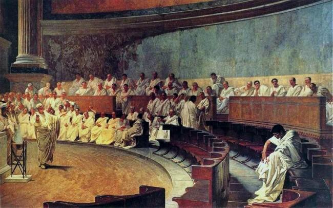 Segregado por seus pares, no Senado, Catilina ouve o duro discurso acusatório de Marcus Tullius Cícero - então Cônsul de Roma com poderes excepcionais conferidos pelos Senadores romanos (pintura de Cesare Maccari, 1888).