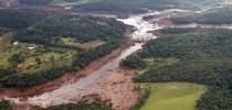 Rio Paraopeba tomado pelos rejeitos de Brumadinho