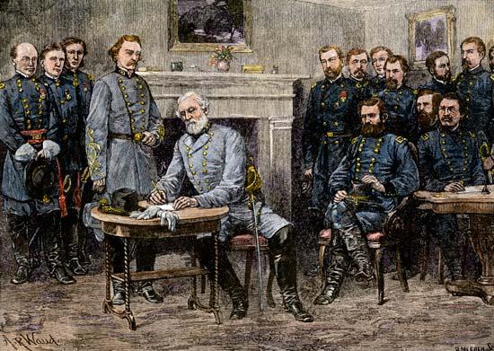 Robert E. Lee rende-se às forças da União, representadas pelo General Ulisses Grant