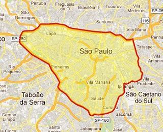 Área abrangida pelo sistema de rodízio em São Paulo (Imagem: Reprodução/Internet)