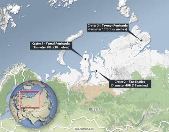 Mapa das grandes crateras observadas na Sibéria - sinais claros de explosão de crateras pelo gás metano