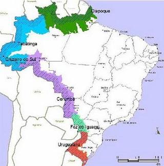 Todas as fronteiras terrestres do Brasil (parte colorida da imagem) serão abrangidas pelo SISFRON. Imagem: Reprodução/Internet