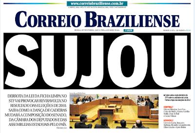 Manchete icônica do Correio Braziliense, traduz a relação escatológica