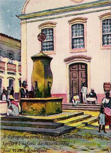 """O Chafariz da Misericórdia, local de encontros, namoros e conspirações políticas em uma cidade colonial ainda sem abastecimento de água, era conhecido como """"Chafariz do Tebas"""", o que ajudou a perpetuar a história de seu construtor."""