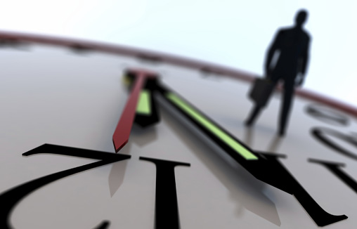 """A businessman """"on the clock"""". Conceptual interpretation of business deadlines. 3D rendering with raytraced textures and HDRI lighting."""
