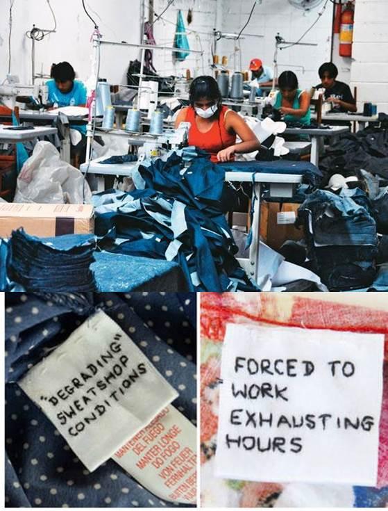 Em todo o mundo, bilhetes sao deixados em etiquetas de roupas fabricadas na Ásia.