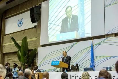 O secretário-geral das Nações Unidas, Ban Ki-moon, em seu discurso de encerramento na UNEA.